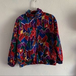 Vintage 90's Colorful Abstract Windbreaker Bomber